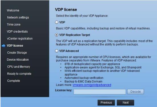 VDP 5.8 Replication Target