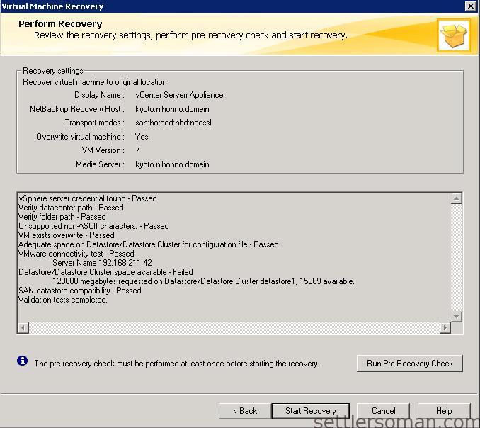 NetBackup - restore VMware VM backup 12