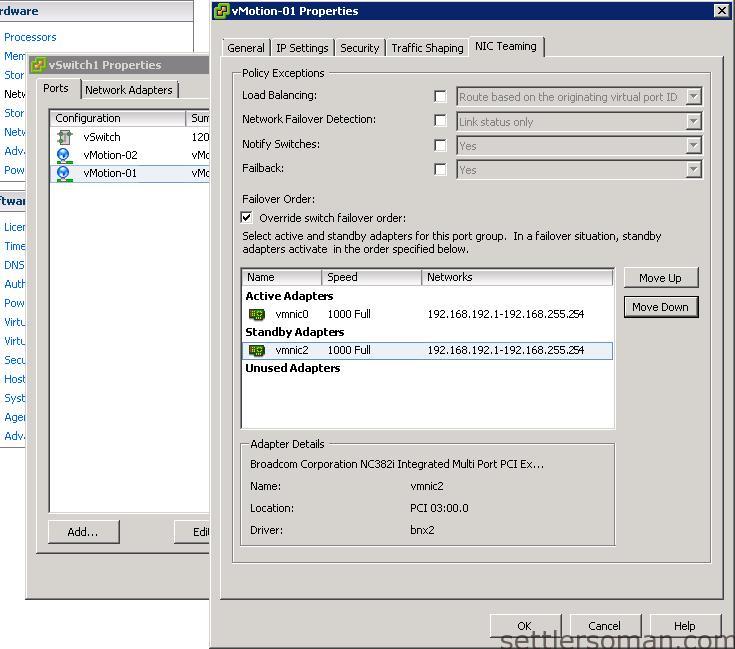 Set up Multi-NIC vMotion on vSS via vSphere Client 6